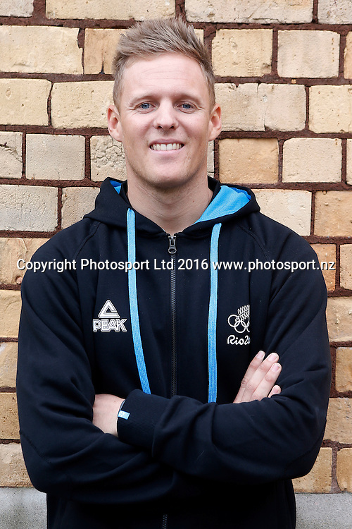 Daniel Willcox, men's 470 sailors, New Zealand Yachting team pre-departure media session ahead of the Rio 2016 Olympic Games. Zhik shop, Victoria Park Markets, Auckland, 26 July 2016. Copyright Image: William Booth / www.photosport.nz