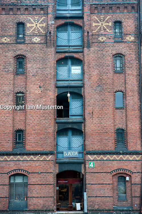 Old warehouse at historic Speicherstadt district in Hamburg Germany