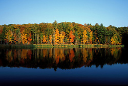Peverly Pond.  Fall foliage reflects in pond.  Great Bay N.W.R., Newington, NH