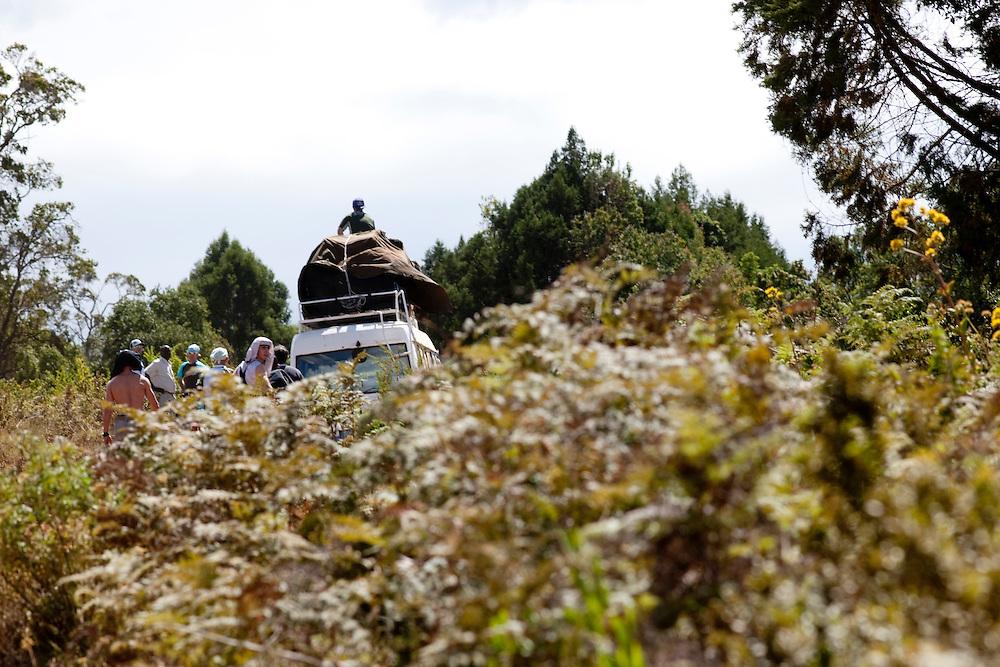 Location: Mont Kenya (Kenya) Urge Kenya 09/ The ultimate Mountain Bike gravity adventure at Mont-Kenya .The bus make his way through the bush to Sirimon Gates (altitude 2450 meters) the start for the ascension to Mont Kenya