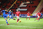 Aaron Holloway of Oldham Athletic shoots during the EFL Sky Bet League 1 match between Charlton Athletic and Oldham Athletic at The Valley, London, England on 6 January 2018. Photo by Toyin Oshodi.