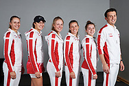Zielona Gora, Poland - 2019 February 09: Tennis players members Polish national team (L-R) Magda Linette and Iga Swiatek and Magdalena Frech and Alicja Rosolska and Maja Chwalinska and captain Dawid Celt all from Poland pose to the picture during 2019 Fed Cup Europe / Africa Group I Tournament at MOSiR Hall on February 09, 2019 in Zielona Gora, Poland.<br /> <br /> Mandatory credit:<br /> Photo by © Adam Nurkiewicz<br /> <br /> Picture also available in RAW (NEF) or TIFF format on special request.<br /> <br /> Any editorial, commercial or promotional use requires written permission.<br /> <br /> Adam Nurkiewicz declares that he has no rights to the image of people at the photographs of his authorship.<br /> <br /> Image can be used in the press or another use when the method of use and the signature does not hurt people on the picture.