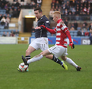 Ryan Conroy takes on Ali Crawford - Dundee v Hamilton, SPFL Championship at <br /> Dens Park<br /> <br /> Ryan Conroy takes on Ali Crawford - &copy; David Young - www.davidyoungphoto.co.uk - email: davidyoungphoto@gmail.com