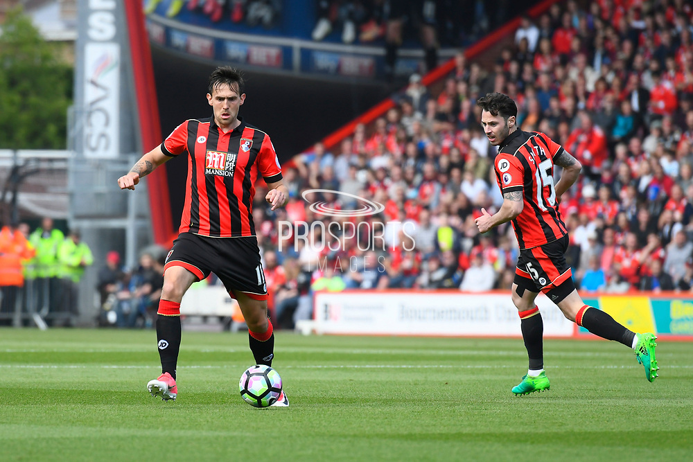 AFC Bournemouth midfielder Charlie Daniels and AFC Bournemouth Adam Smith during the Premier League match between Bournemouth and Burnley at the Vitality Stadium, Bournemouth, England on 13 May 2017. Photo by Graham Hunt.