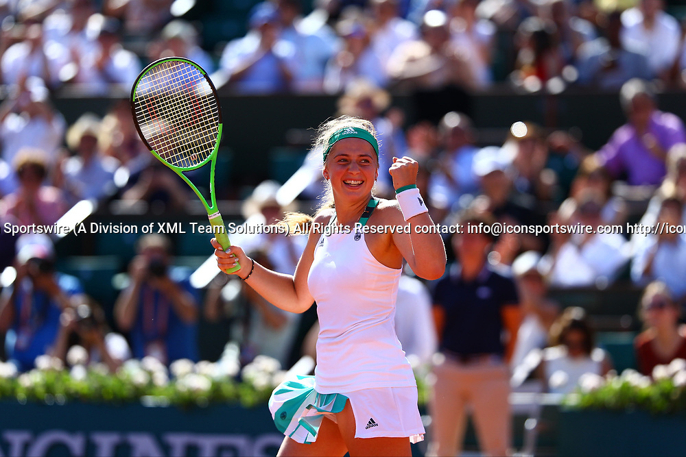 PARIS, FRANCE - JUNE 08: JELENA OSTAPENKO (LAT) during day twelve match of the 2017 French Open on June 8, 2017, at Stade Roland-Garros in Paris, France. (Photo by Chaz Niell/ Icon Sportswire)