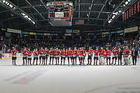 KELOWNA, CANADA - APRIL 25: The Portland Winterhawks line up on the blue line for the trophy presentation on April 25, 2014 during Game 5 of the third round of WHL Playoffs at Prospera Place in Kelowna, British Columbia, Canada. The Portland Winterhawks won 7 - 3 and took the Western Conference Championship for the fourth year in a row earning them a place in the WHL final.  (Photo by Marissa Baecker/Getty Images)  *** Local Caption ***