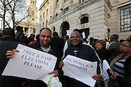 Anti-Mugabe demonstrations outside the Embassies of South Africa and Zimbabwe<br /> <br /> Members of the Zimbabwean Diaspora continue their demonstrations against the human rights abuses of the Mugabe regime London, UK, 21/01/2012