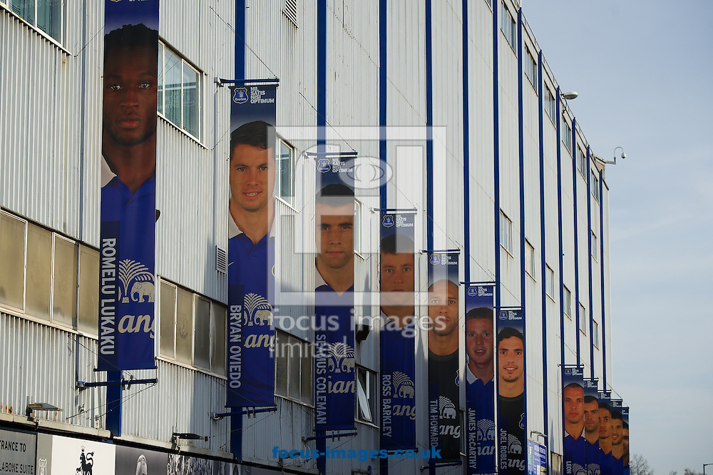 General view of the exterior of the stadium ahead of the Barclays Premier League match at Goodison Park, Liverpool<br /> Picture by Ian Wadkins/Focus Images Ltd +44 7877 568959<br /> 16/04/2014