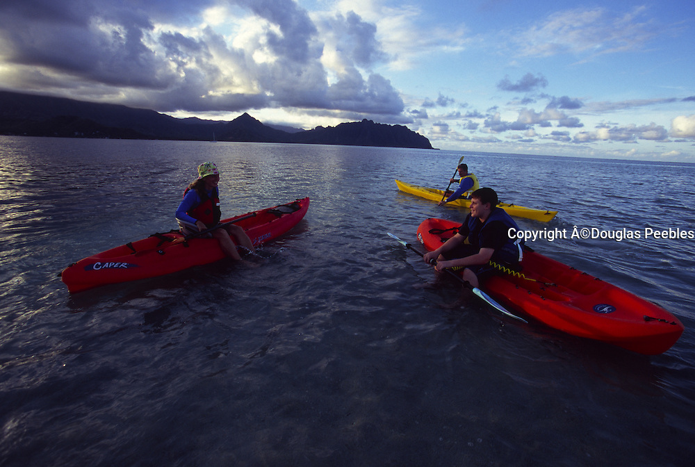 Kayaking, Kaneohe Bay, Oahu, Hawaii