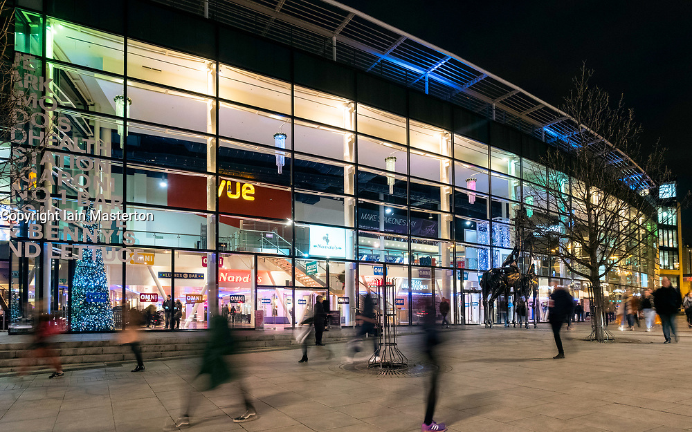 Exterior of Omni Centre on Leith Walk at night in Edinburgh, Scotland, United Kingdom