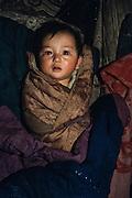 Nomads baby in ger<br /> Lake Hovskol<br /> Mongolia