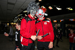 Hordur Magnusson and Taylor Moore of Bristol City get involved in the Bristol Sport Spooktacular Halloween Event at Ashton Gate - Rogan Thomson/JMP - 26/10/2016 - SPORT - Ashton Gate Stadium - Bristol, England.
