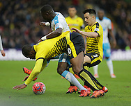 Watford's Obbi Oulare takes a tumble during the The FA Cup Third Round match between Watford and Newcastle United at Vicarage Road, Watford, England on 9 January 2016. Photo by Dave Peters.