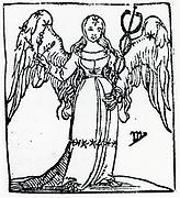 Zodiac sign of Virgo .  From 'Sphaera mundi', Strasburg, 1539