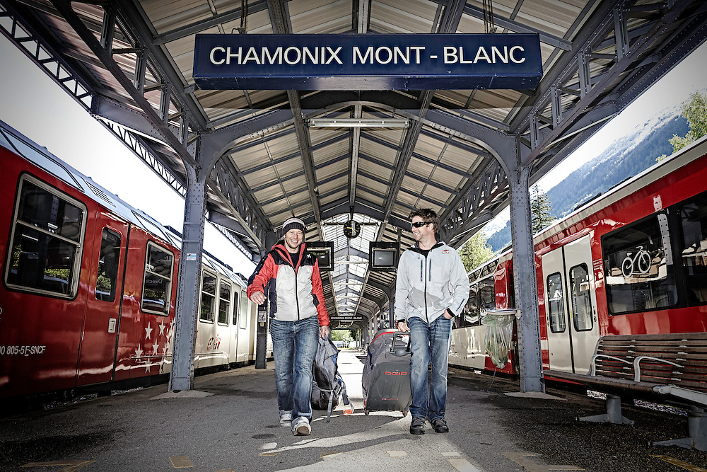Filippo Fabbi and Jon Devore meet each other at the Chamonix train station in Chamonix, France on May 23rd, 2014.