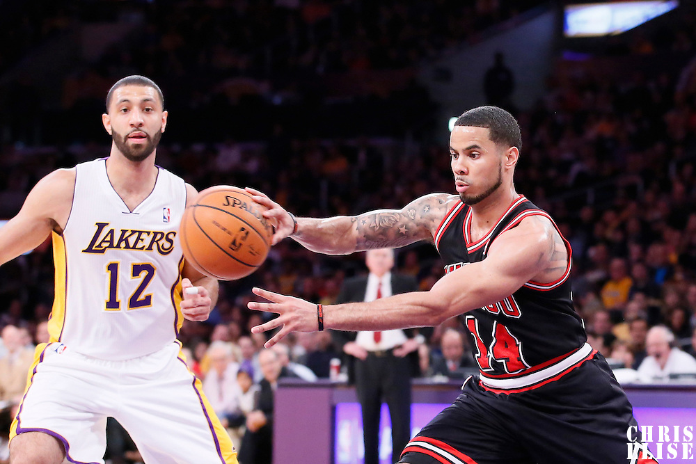 09 February 2014: Chicago Bulls point guard D.J. Augustin (14) passes the ball during the Chicago Bulls 92-86 victory over the Los Angeles Lakers at the Staples Center, Los Angeles, California, USA.