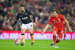 LIVERPOOL, ENGLAND - Wednesday, January 20, 2016: Liverpool's Joe Allen in action against Exeter City's Danny Butterfield during the FA Cup 3rd Round Replay match at Anfield. (Pic by David Rawcliffe/Propaganda)