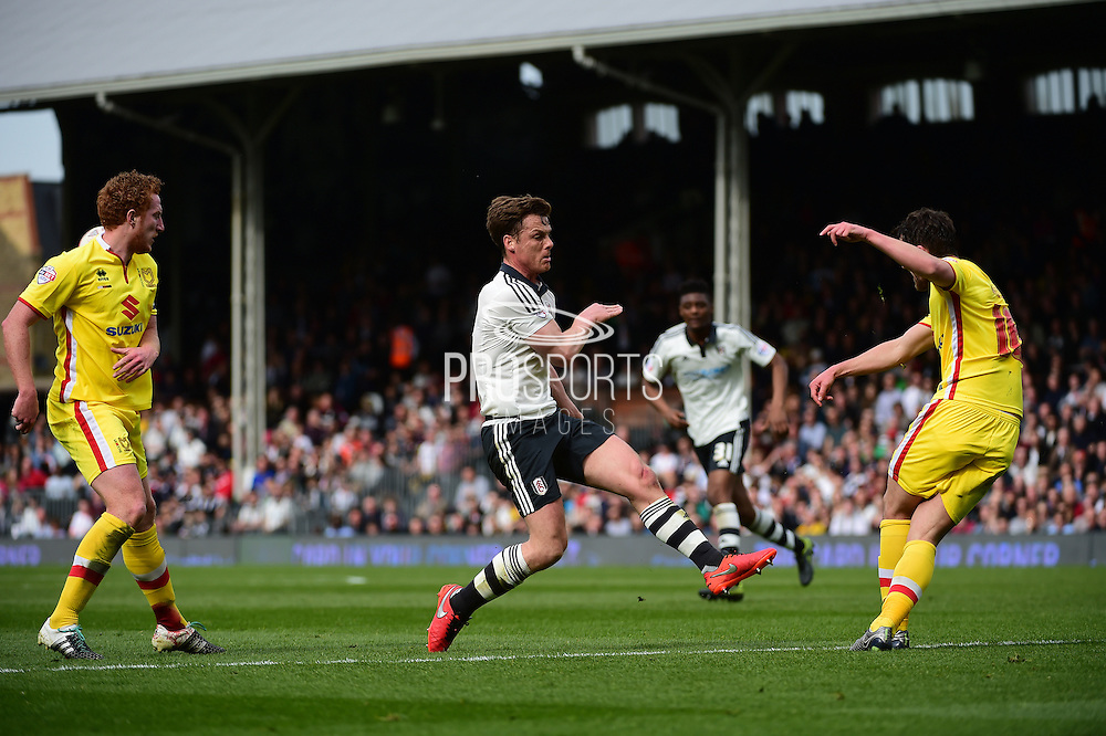 Fulham Midfielder Scott Parker (8) has a shot during the Sky Bet Championship match between Fulham and Milton Keynes Dons at Craven Cottage, London, England on 2 April 2016. Photo by Jon Bromley.