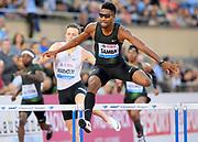 Abderrahman Samba (QAT) wins the 400m hurdles in 47.42 during the 2018 Athletissima in an IAAF Diamond League meeting at Stade Olympique de la Pontaise in Lausanne, Switzerland on Thursday, July 5, 2018. (Jiro Mochizuki/Image of Sport)