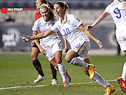 Oct 24, 2014; Philadelphia, PA, USA; United States midfielder Carli Lloyd (10) reacts to scoring a goal that was eventually called back during a women's World Cup Qualifier semifinal soccer match against Mexico at PPL Park. The USA defeated Mexico 3-0. Mandatory Credit: Bill Streicher-USA TODAY Sports