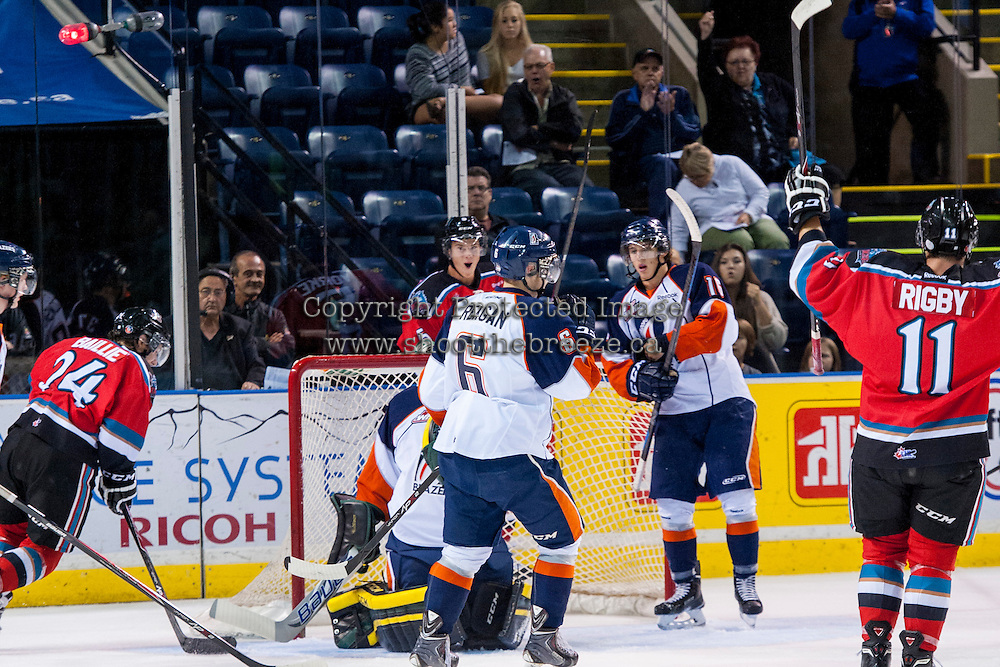 KELOWNA, CANADA - AUGUST 30: The Kelowna Rockets celebrate a goal against the Kamloops Blazers on August 30, 2014 during pre-season at Prospera Place in Kelowna, British Columbia, Canada.   (Photo by Marissa Baecker/Shoot the Breeze)  *** Local Caption ***