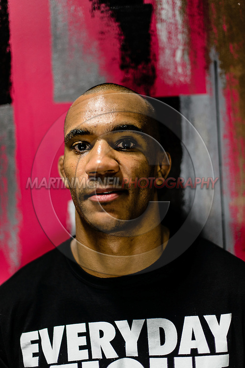 "MANCHESTER, ENGLAND, NOVEMBER 24, 2013: Nicholas Musoke poses for a portrait ahead of ""UFC Fight Night 30: Machida vs. Munoz"" inside the Crowne Plaza Hotel in Manchester, England (Martin McNeil for ESPN)"