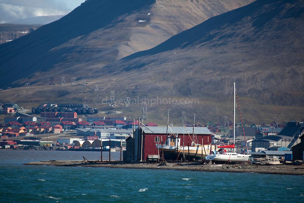 The port of Longyearbyen, Spitsbergen, in the archipelago of Svalbard.