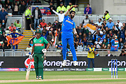 Wicket - Jasprit Bumrah of India leaps in the air as he celebrates taking the wicket of Sabbir Rahman of Bangladesh during the ICC Cricket World Cup 2019 match between Bangladesh and India at Edgbaston, Birmingham, United Kingdom on 2 July 2019.