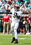 Oct 13, 2019; Jacksonville, FL USA;  New Orleans Saints quarterback Teddy Bridgewater (5) throws pass against the New Orleans Saints during an NFL game at TIAA Bank Field in Jacksonville, FL. The Saints beat the Jaguars 13-6. (Steve Jacobson/Image of Sport)