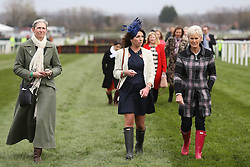 © Licensed to London News Pictures. 08/04/2016. Liverpool, UK. Judy Murray, mother of tennis player Andy Murray, walks the course wearing red wellies on Ladies Day at the Grand National 2016 at Aintree Racecourse near Liverpool. The race, which was first run in 1839, is the most valuable jump race in Europe. Photo credit : Ian Hinchliffe/LNP