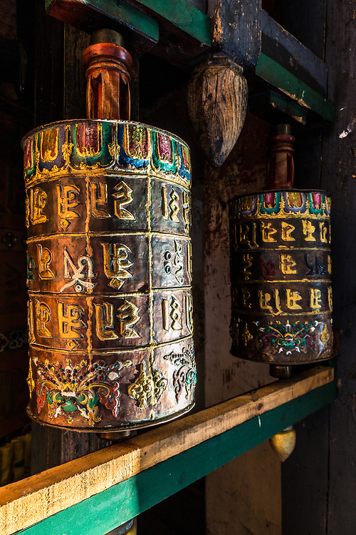 Prayer wheels in Bhumtang, Bhutan