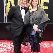 NLD/Amsterdam/20140508 - Wereldpremiere Musical Anne, Erwin van Lambaart met partner Pien