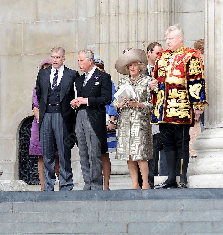 05.JUNE.2012. LONDON<br /> <br /> PRINCE ANDREW, PRINCE CHARLES AND CAMILLA DUCHESS OF CORNWALL LEAVING THE SERVICE OF THANKSGIVING AS PART OF THE QUEEN'S DIAMOND JUBILEE CELEBRATIONS AT ST PAUL'S CATHEDRAL IN LONDON<br /> <br /> BYLINE: EDBIMAGEARCHIVE.CO.UK<br /> <br /> *THIS IMAGE IS STRICTLY FOR UK NEWSPAPERS AND MAGAZINES ONLY*<br /> *FOR WORLD WIDE SALES AND WEB USE PLEASE CONTACT EDBIMAGEARCHIVE - 0208 954 5968*