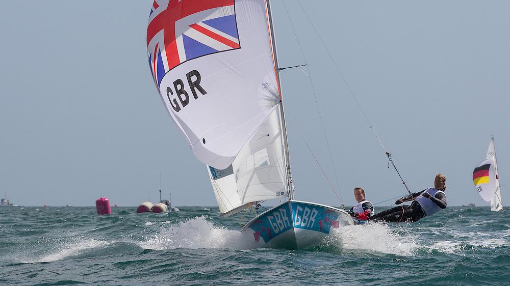 ENGLAND, Weymouth. 3rd August 2012. Olympic Games. Women's 470 Class. Hannah Mills (GBR) Skipper, Saskia Clark (GBR) Crew.