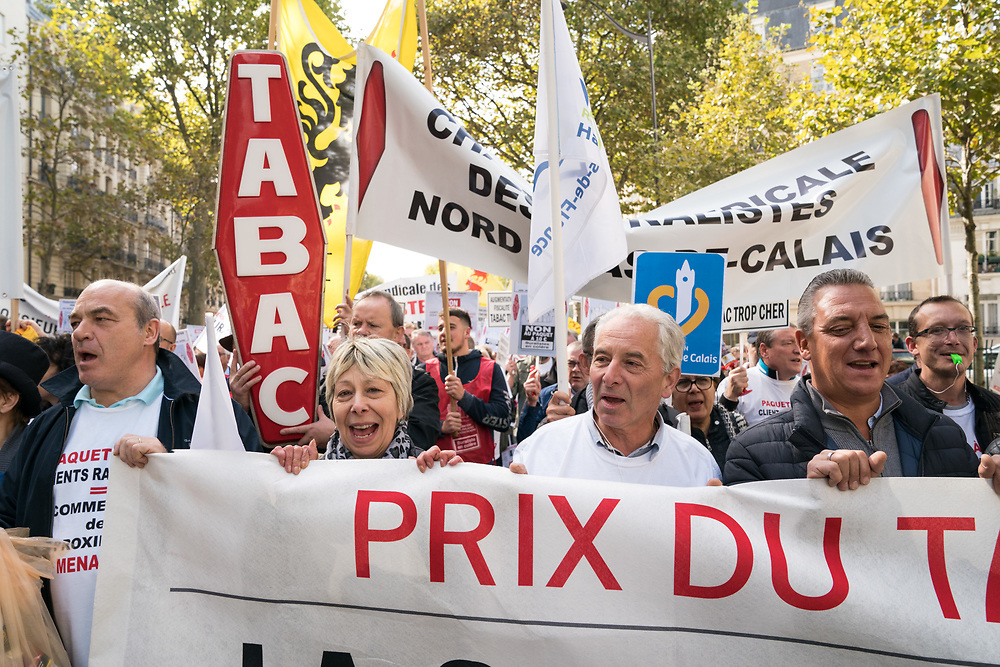 France, Paris, 4 October 2017. Protest  march by tabacconists against price increase of the cigarette pack.