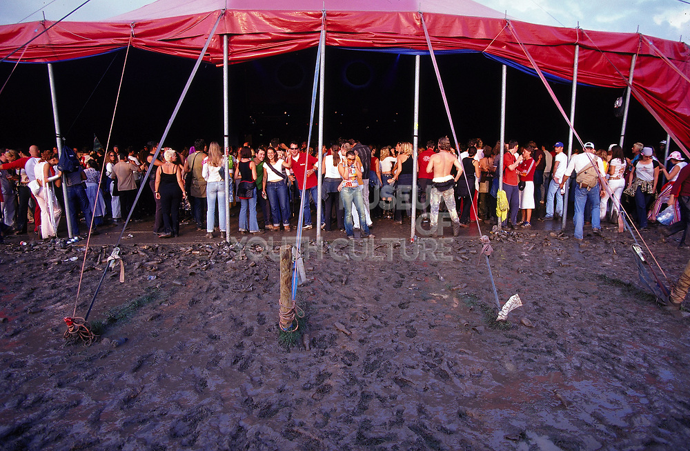 Crowd inside a tent at Dance Valley Holland August 2002