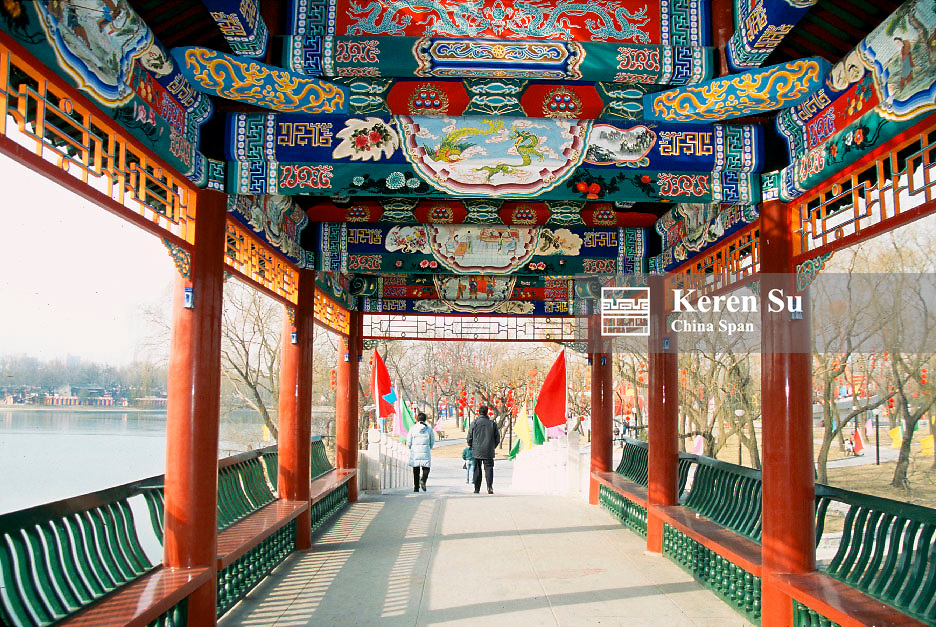 Traditional corridor decorated with paintings at Longtanhu Park, Beijing, China