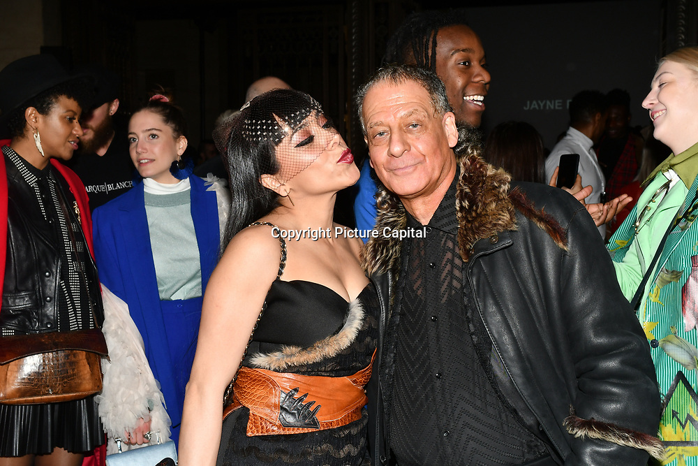 Samira Ebrahimi and Alan Enfield attend Fashion Scout LFW AW19 Day 1 at Freemasons' Hall, London, UK. 15 Feb 2019