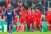 Goal Bayern Munich forward Thomas Müller (25) scores a goal and celebrates 2-1 during the Champions League match between Bayern Munich and Tottenham Hotspur at Allianz Arena, Munich, Germany on 11 December 2019.
