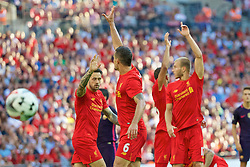 LONDON, ENGLAND - Saturday, August 6, 2016: Liverpool's Danny Ings, Dejan Lovren and Ragnar Klavan in action against Barcelona during the International Champions Cup match at Wembley Stadium. (Pic by Xiaoxuan Lin/Propaganda)