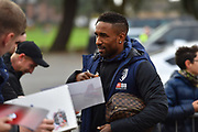 Jermain Defoe (18) of AFC Bournemouth signing his autograph for fans as he arrives at the Vitality Stadium before the Premier League match between Bournemouth and Liverpool at the Vitality Stadium, Bournemouth, England on 8 December 2018.