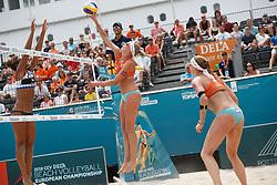 20180718 NED: CEV DELA Beach Volleyball European Championship day 4<br />Alexandra Jupiter (2) of France, Sanne Keizer (1), Madelein Meppelink (2) of The Netherlands   <br />©2018-FotoHoogendoorn.nl
