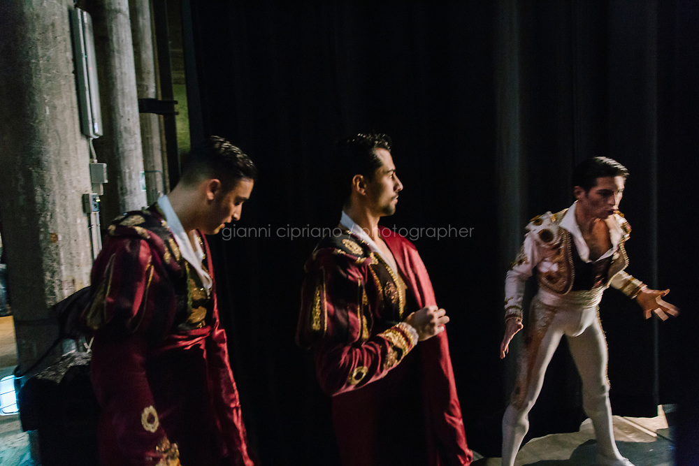 PALERMO, ITALY - 18 FEBRUARY 2018: Dancers are seen here backstage during the dress rehearsal of &quot;Don Quixote&quot; at the Teatro Massimo in Palermo, Italy, on February 18th 2018.<br /> <br /> The Teatro Massimo Vittorio Emanuele is an opera house and opera company located  in Palermo, Sicily. It was dedicated to King Victor Emanuel II. It is the biggest in Italy, and one of the largest of Europe (the third after the Op&eacute;ra National de Paris and the K. K. Hof-Opernhaus in Vienna), renowned for its perfect acoustics. It was inaugurated in 1897.