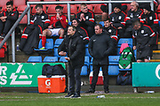 Forest Green Rovers manager, Mark Cooper during the EFL Sky Bet League 2 match between Crewe Alexandra and Forest Green Rovers at Alexandra Stadium, Crewe, England on 27 April 2019.