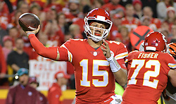 Oct 21, 2018; Kansas City, MO, USA; Kansas City Chiefs quarterback Patrick Mahomes (15) throws.a pass during the first half against the Cincinnati Bengals at Arrowhead Stadium. Mandatory Credit: Denny Medley-USA TODAY Sports