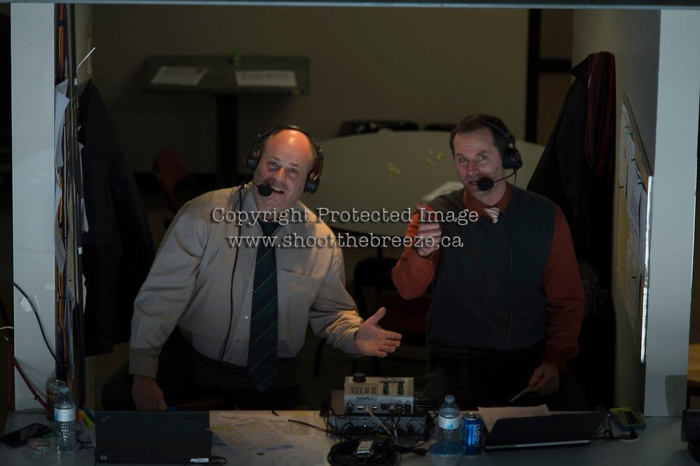 KELOWNA, CANADA - FEBRUARY 24:  Regan Bartel and Gord McGarva on February 24, 2018 at Prospera Place in Kelowna, British Columbia, Canada.  (Photo by Marissa Baecker/Shoot the Breeze)  *** Local Caption ***