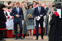 © Licensed to London News Pictures. 14/03/2016. Prince Harry, Kate, Duchess of Cambridge and William, Duke of Cambridge attend the Commonwealth Day Observance Service At Westminister Abbey. The annual multi-faith service is a celebration of the Commonwealth London, UK.  Photo credit: Ray Tang/LNP