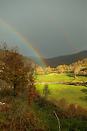 Rainbow over pasture at Barroso region, Norther Portugal
