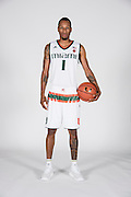 September 28, 2016: Rashad Muhammad #1 poses during  Miami Hurricanes Men's Basketball Photo Day in Coral Gables, Florida.