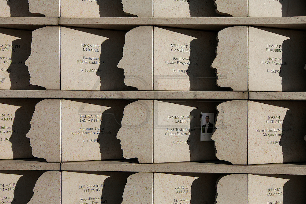 PHOTO PETER PEREIRA/4SEE<br /> <br /> The names of Staten Island residents killed (270) in the attacks of Sept 11 are etched on a monument.  Staten Island was one of the hardest hit communities.   New Yorkers deal with the 10th anniversary of September 11, 2001 in different ways.